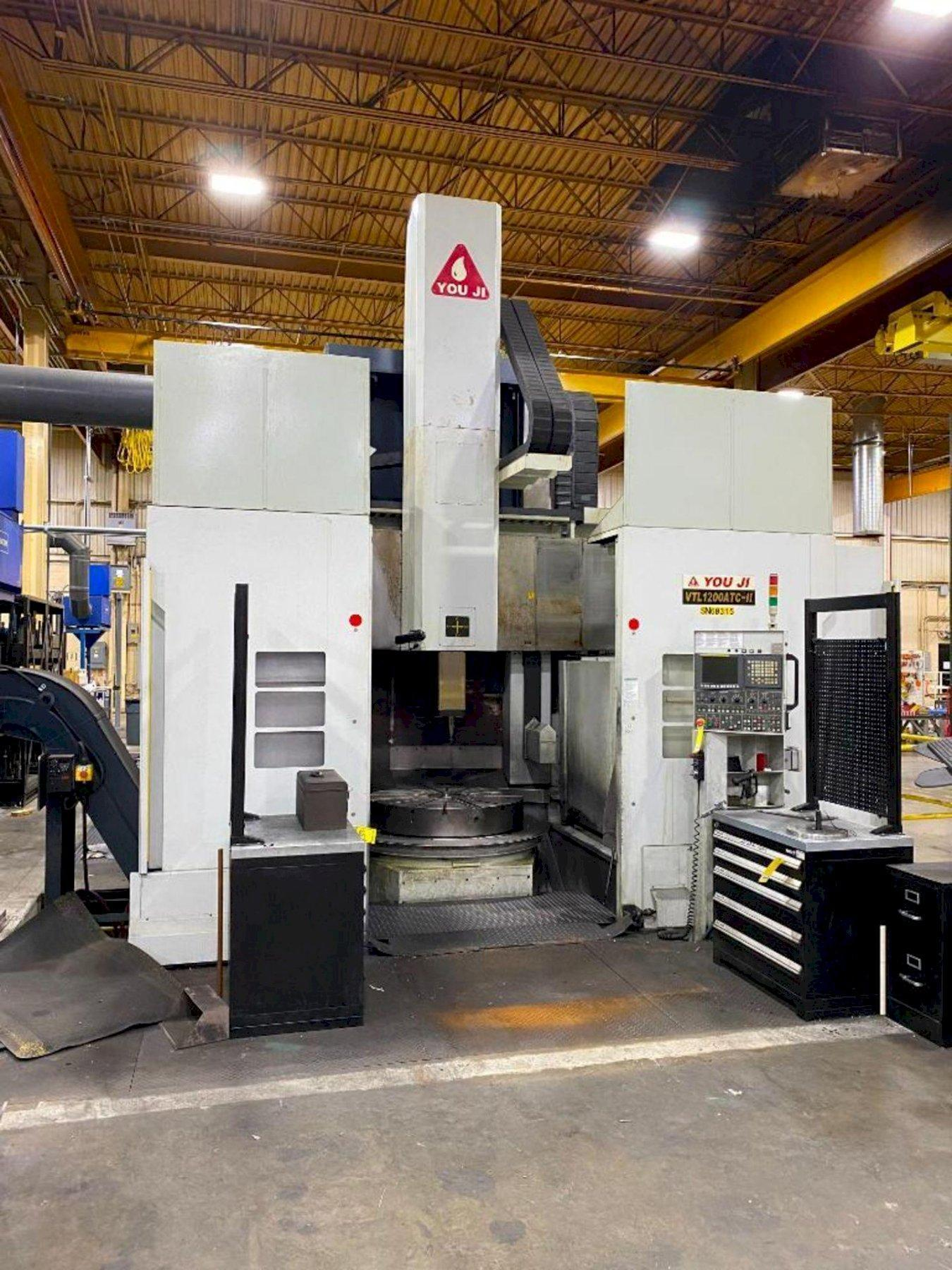 "You Ji VTL1200-II ATC CNC Vertical Lathe, Fanuc 0iTD, 63"" Swing, 49"" Table Dia, 60 HP, 12 Position Turret, High Column Machine, Gearbox, Chiller, 11K Lb Cap, 2012"