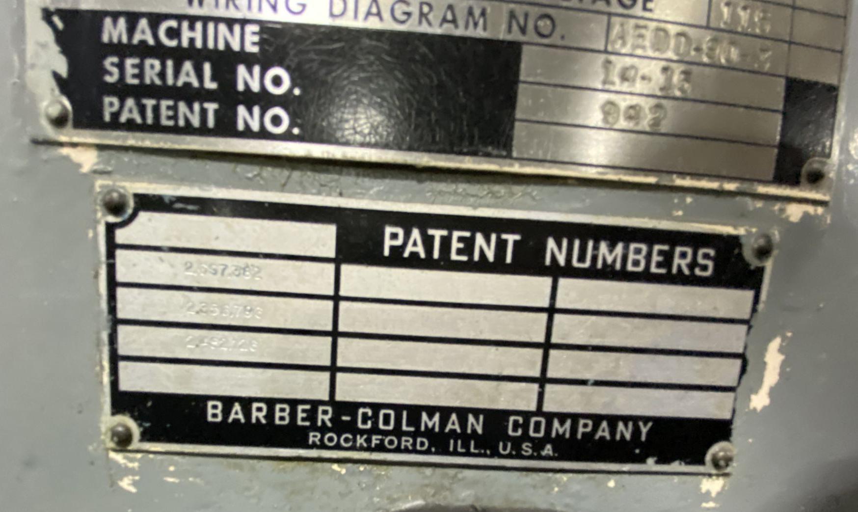 "14-15 BARBER COLMAN HORIZONTAL GEAR HOBBER, 14"" Max Work Diameter, 15"" Max Hob Slide Travel, 6.25"" Max Hob Diameter, Auto Hob Shift, Auto 2-Cut Cycle, Hydraulic Workhead, Hydraulic & Coolant System, New 1963."