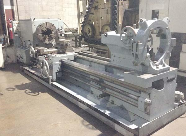 """33"""" x 120"""" BINNS & BERRY OIL COUNTRY LATHE, Model Trident 850, 33"""" Swing, 24"""" Chuck, 10.5"""" Thru Hole, Threading, Taper, Steady, Tailstock with 120"""" Centers, New 1983."""