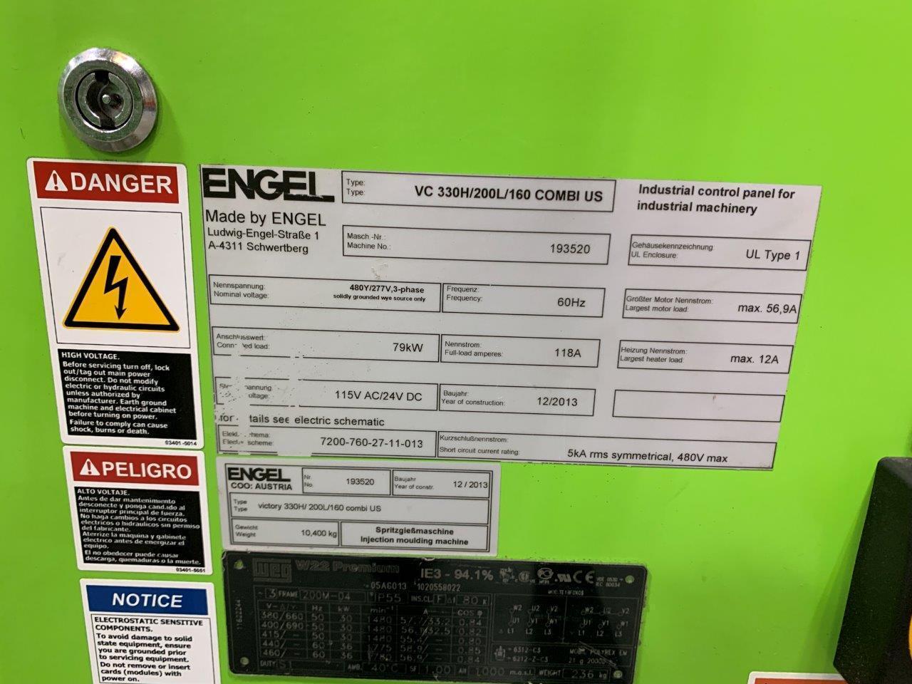 Engel VC 330H / 200L / 160 ton Two Material Molding Machine, 460V,  Yr 2013, 2.8 and 2.4 oz.