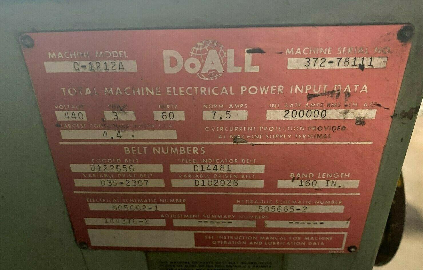"DOALL HORIZONTAL AUTOMATIC BANDSAW, Model C-1212A, 12"" x 12"", 3 HP, 400 FPM."