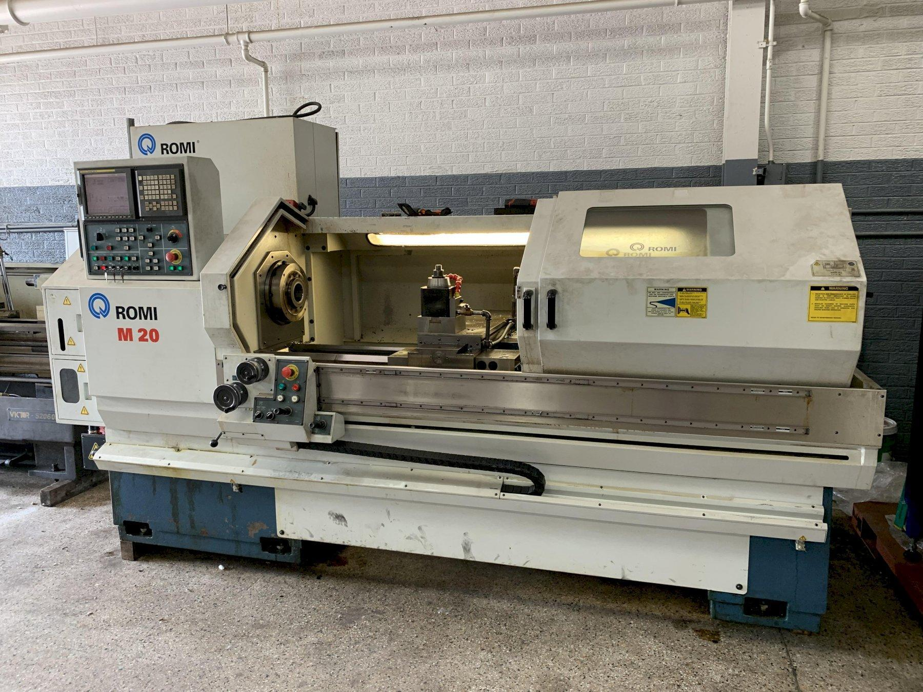 "20"" x 60"" Romi Model M20 CNC Flat Bed Lathe, S/N 002 091791404."