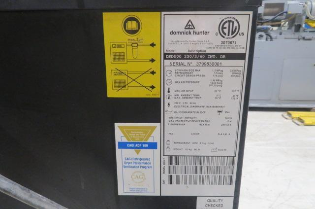 Parker Dominick Hunter Used DRD500 Smart Refrigerated Air Dryer, 500 CFM capable, Yr. 2009