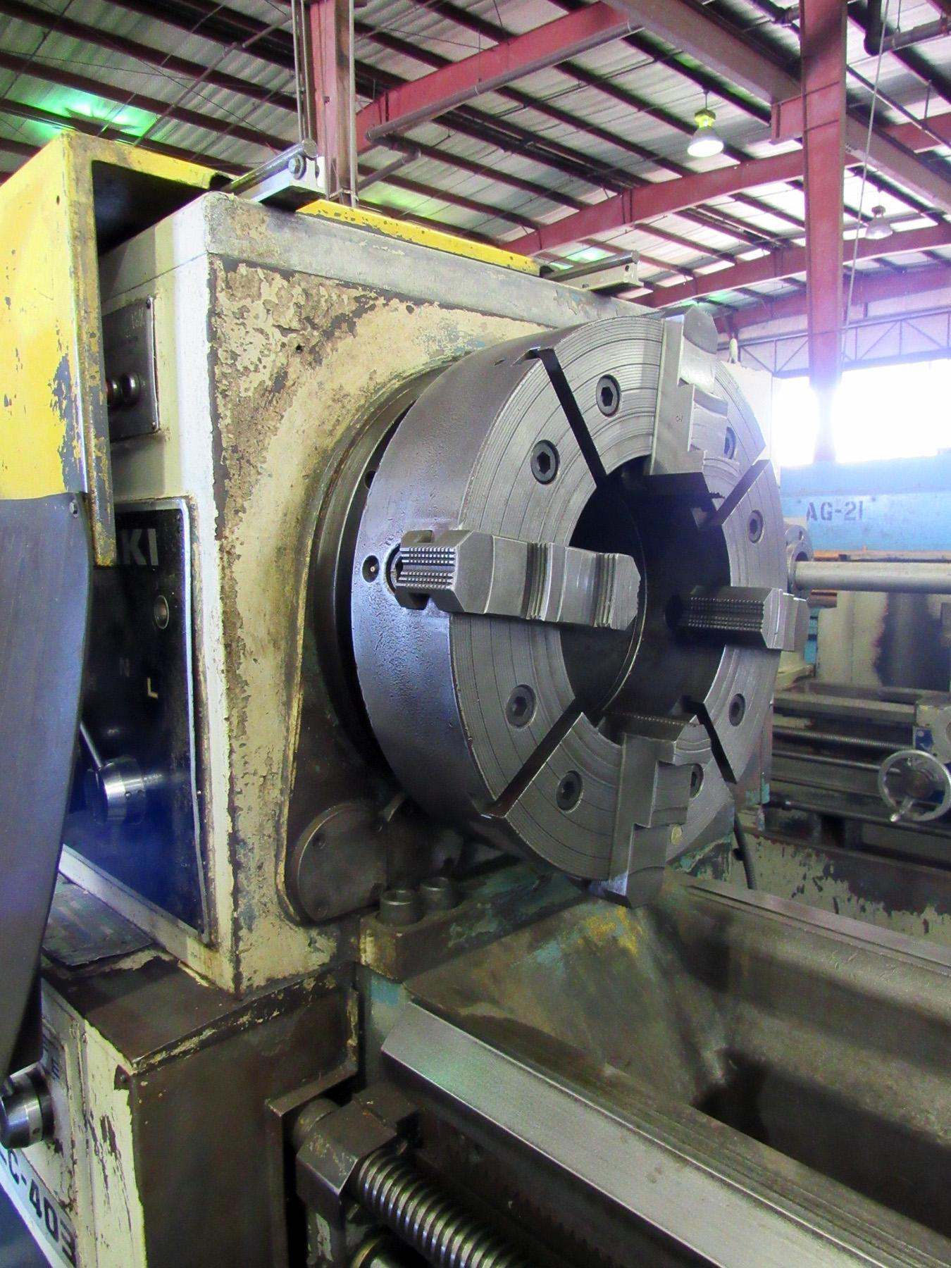 """USED, 32"""" X 118"""" KURAKI MODEL LC-403 30 HOLLOW SPINDLE LATHE WITH 12.5"""" SPINDLE BORE"""