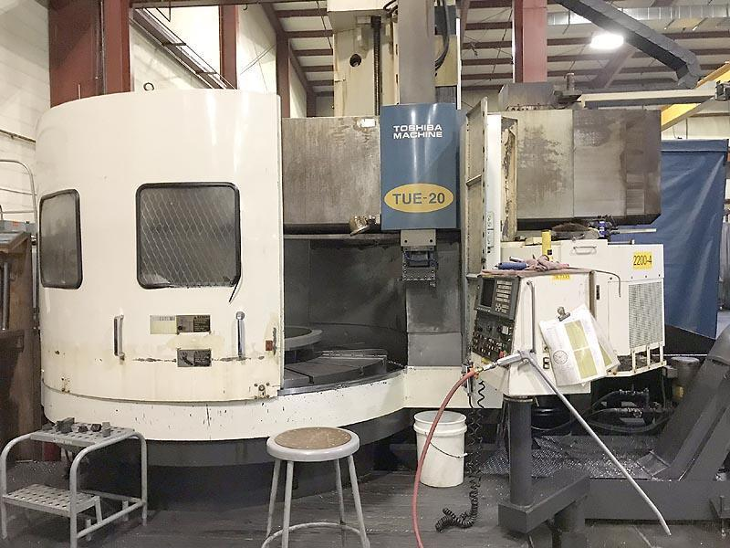 """78"""" TOSHIBA TUE-20, Fanuc 18T CNC, 78"""" Table, 90"""" Swing, 59"""" Max Turning Height, 12 Station Tool Changer, 60 HP, 200 RPM, New 2002."""