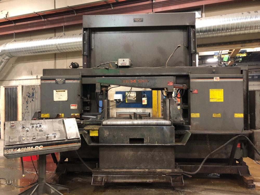 "USED HEM DUAL POST SEMI-AUTOMATIC HORIZONTAL BANDSAW , Model WF140HM-DC, 20"" x 44"", Stock No. 10518"