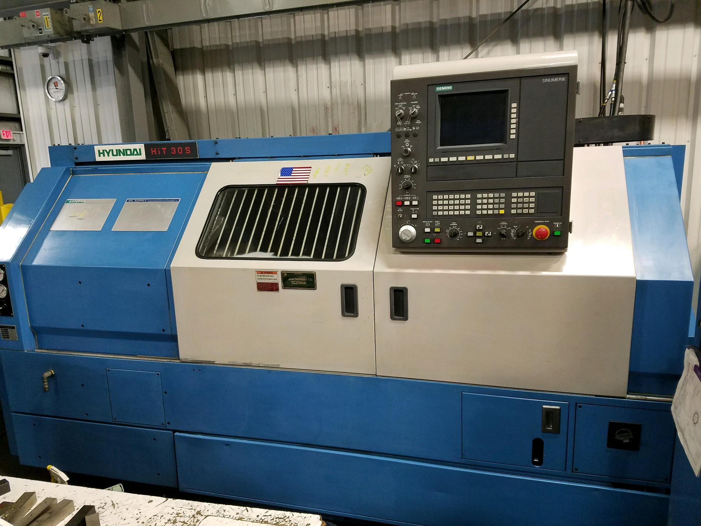 "Hyundai HiT30S CNC Lathe, Siemens Sinumerik Control, 12"" Chuck, 12 Position Turret, Hydraulic Tailstock, Tool Eye, Good Condition, 2001"