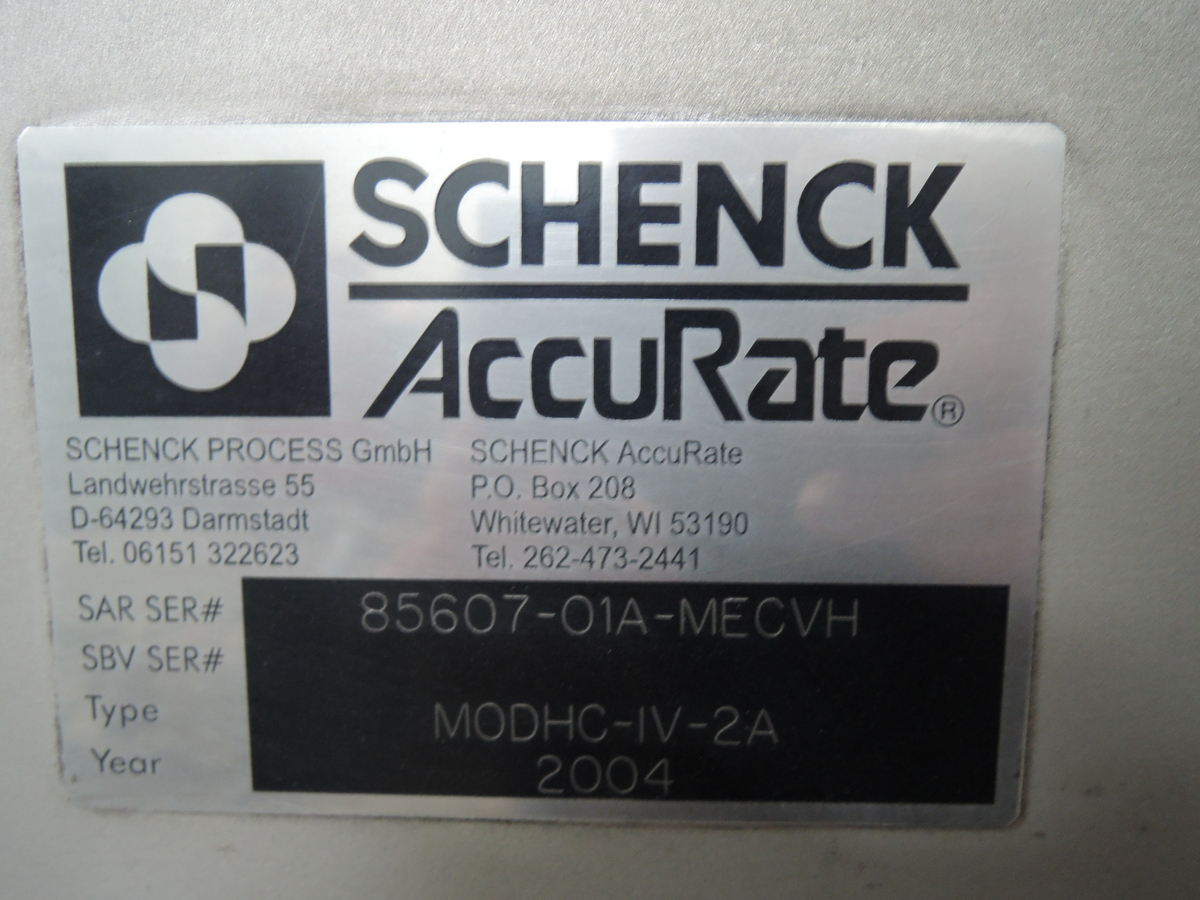 SCHENCK ACCURATE MECHATRON POWDER FEEDER MODEL HC-2A S/N: 85607-01A-MECVH, 3HP MOTOR, 575 VOLT, STAINLESS STEEL, WITH STORAGE HOPPER TAG# 10735, RATED UP TO 1,100 CU FT PER HOUR
