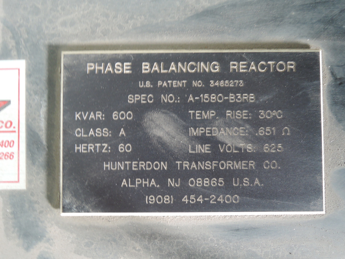 FURNACE REACTOR SPEC NO A-1580-B3RB  600 KVAR 60 HZ LINE VOLTS 625