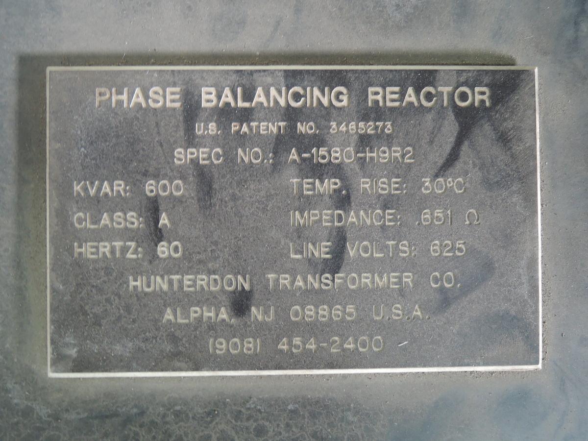 FURNACE REACTOR SPEC NO A-1580-H9R2  600 KVAR 60 HZ LINE VOLTS 625
