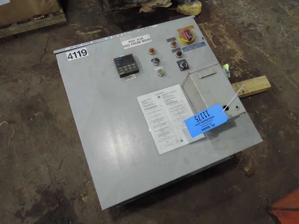 "STATIONARY GAS FIRED FURNACE WITH GAS SYSTEM AND CONTROLS TAG# 11175 DIMENSIONS OUT: 52"" DIA X 40"" TALL, IN: 32"" DIA X 24"" DEEP"