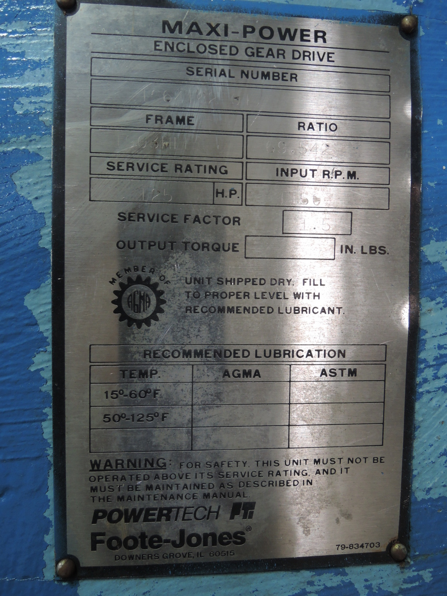 AISCO ROTARY SHAKEOUT DRUM  FOOTE-JONES GEARBOX ONLY MODEL 1903 STYLE 4, S/N 1C64182 RATED AT 69.542 TO 1, TRIPLE REDUCTION, PARALLEL SHAFT PRICE IS LOADED ON TRUCK