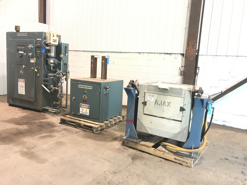 1995 AJAX  PACER S-10 POWER SUPPLY S/N M-2D250-B RATED AT 100KW, 3000 HZ. WITH WATER PUMPS WATER COOLED SWITCH CABINET CABINET IS TAG# 11714 300# HYDRAULIC TILT FURNACE WITH STAND IS TAG# 11715
