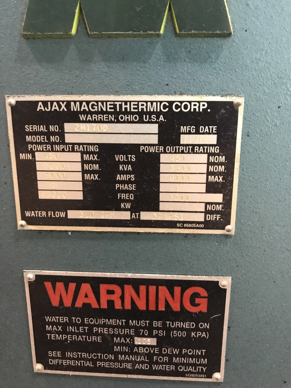 AJAX FURNACE WATER COOLED SWITCH CABINET FOR  PACER S-10 PRICED WITH POWER SUPPLY TAG#11713