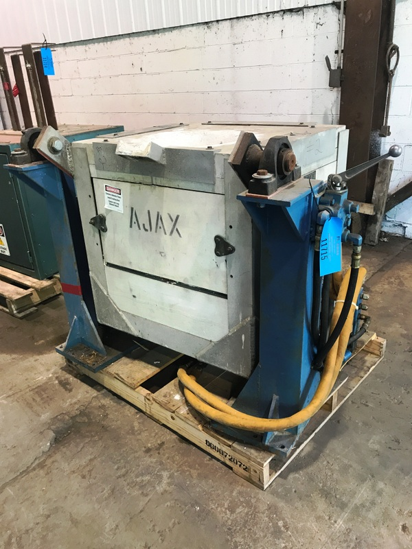 1995 AJAX  MODEL MFB-300 300# HYDRAULIC  TILT TRANSITE BOX FURNACE WITH STAND NO HYDRAULIC PUMP PRICED WITH POWER SUPPLY TAG # 11713