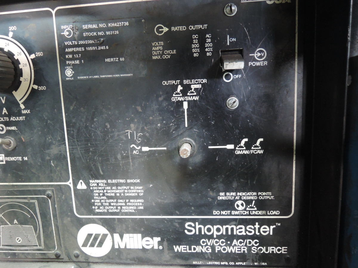 MILLER SHOPMASTER MIG/TIG/ARC WELDER S/N KH423736 STOCK NO: 903126, 200/230/480 VOLT,  WITH A MILLER S-22 P12 24V WIRE FEEDER