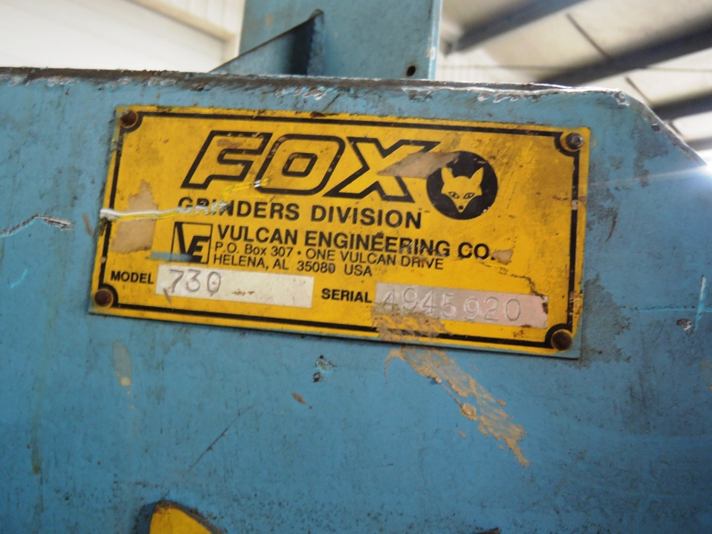 "FOX MODEL 730  6""  BELT GRINDER S/N 4945920, 50 HP WITH HYDRAULIC FEED SYSTEM AND CONTROLS  SEE TAG#12174"