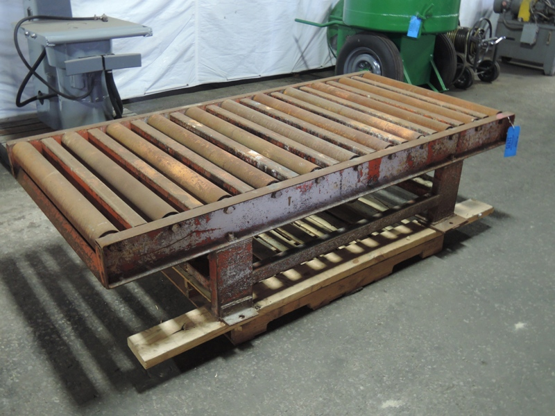 """36"""" X 84"""" ELECTRIC COMPACTION TABLE WITH ROLLER CONVEYOR TOP 3"""" DIAMETER ROLLERS ON 8"""" CENTER NO CONTROL"""