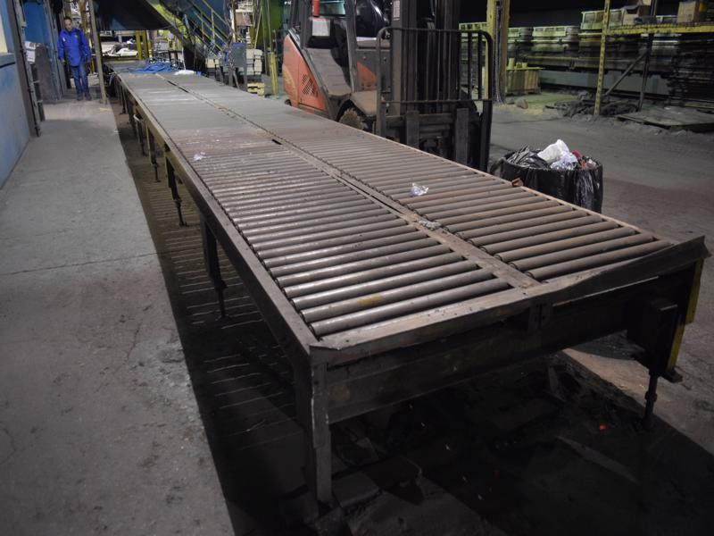 approx. 55' of double row roller conveyors, 24