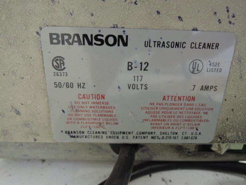 BRANSON ULTRASONIC MODEL B-12 CLEANER