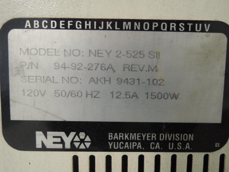 NEY MODEL 2-525 SII MUFFLE FURNACE S/N: AKH 9431-102, 120 VOLT, 1,500 WATT, 12.5 AMP, 50/60 HZ