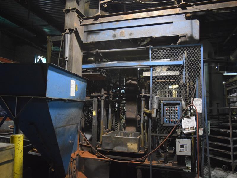 1987 Redford model hcb26ul linier style horizontal cold box core machine s/n 113-hcb26ul, with Allen bradley plc, feed hopper and bucket elevator, hydraulic system, Gaylord model so2-g200 gas generato