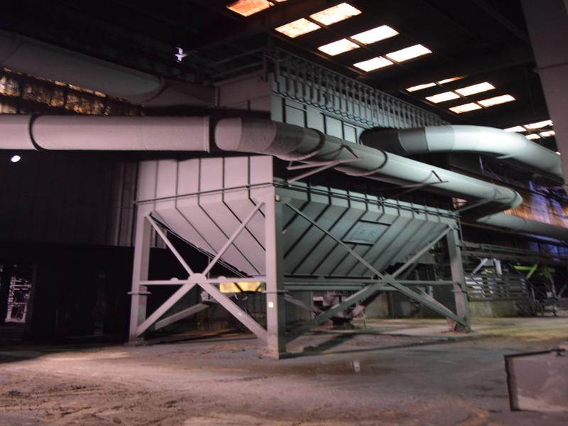 2008 CP environmental model 169 tnf 120 top access pulse bag dust collector rated at 30,000 cfm with 2- compartment, twin city 100 hp blower and motor, rotary air lock and controls