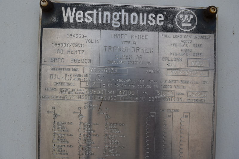 WESTINGHOUSE 47040/42000 KVA POWER TRANSFORMER S/N VCS-6539 RATED AT 134550 PRIMARY VOLTS, 13800/7970 SECONDARY VOLTS, 60 HERTZ, CLASS OA, TYPE SL, THREE PHASE, 42000 AT 55 DEGREE RISE, 47040 AT 65 DEGREE RISE, 9.2 IMP., FIVE HIGH SIDE TAPS, 144645,