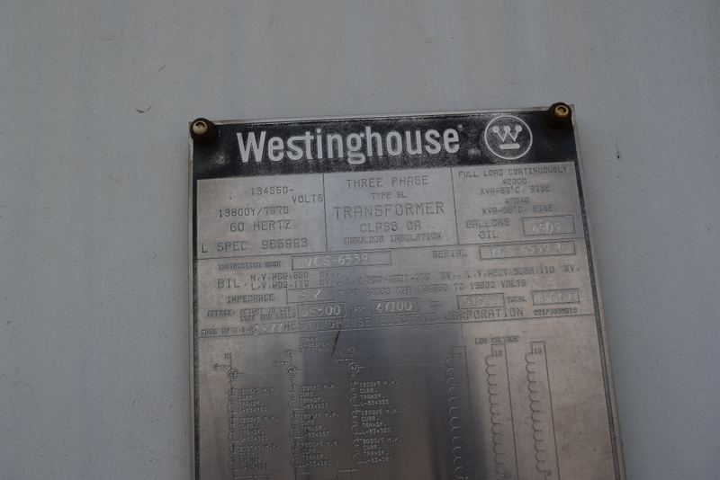 WESTINGHOUSE 47040/42000 KVA POWER TRANSFORMER S/N VCS-6539 RATED AT 134550 PRIMARY VOLTS, 13800/7970 SECONDARY VOLTS, 60 HERTZ, CLASS OA, TYPE SL, THREE PHASE, 42000 AT 55 DEGREE RISE, 47040 AT 65 DE