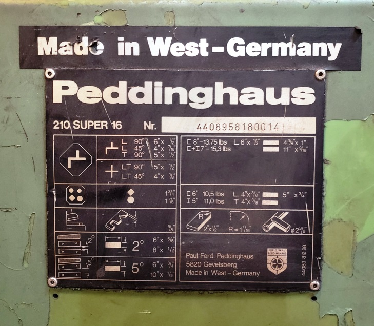Peddinghaus 210 Super 16, 88 Ton Mechanical Iron Worker