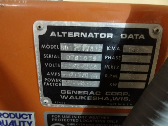 130 KW Generac  Generator Model SD13017872