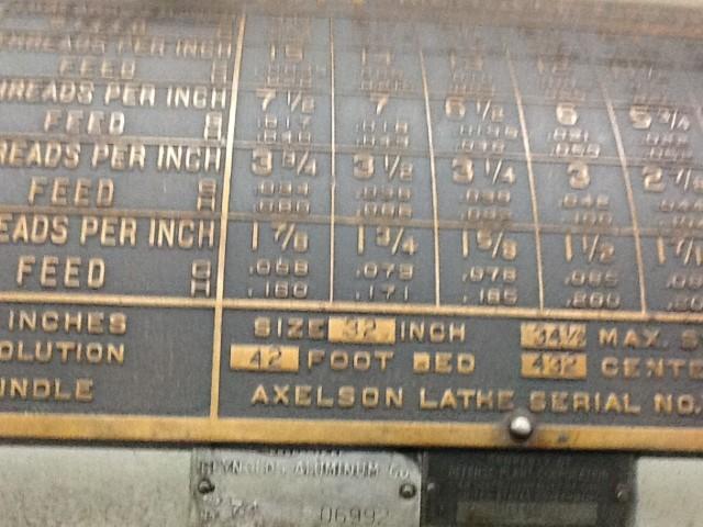 """AXELSON 32"""" X 432"""" LATHE"""