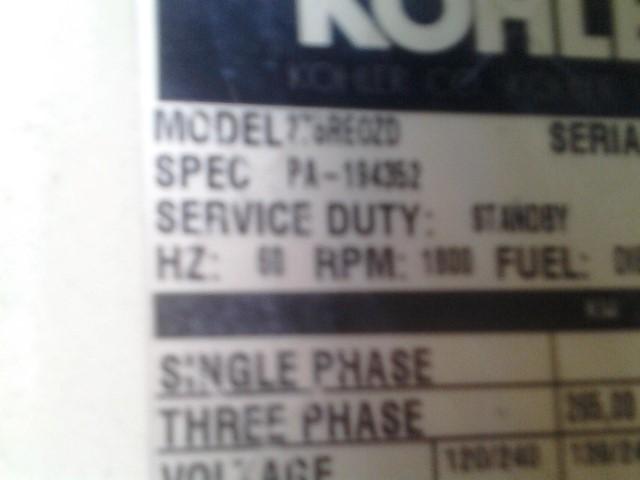 Kohler Model 275REOZD Detroit Diesel Three Phase Generator