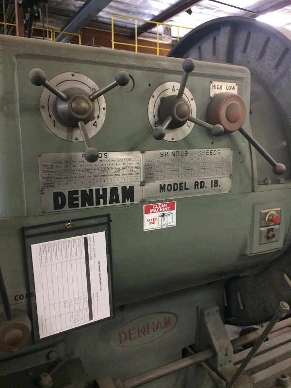 DENHAM MODEL R.D. 18, BIG HOLE, SLIDING GAP BED LATHE