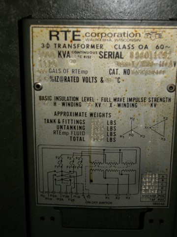 1000 kVA RTE Three Phase Transformer