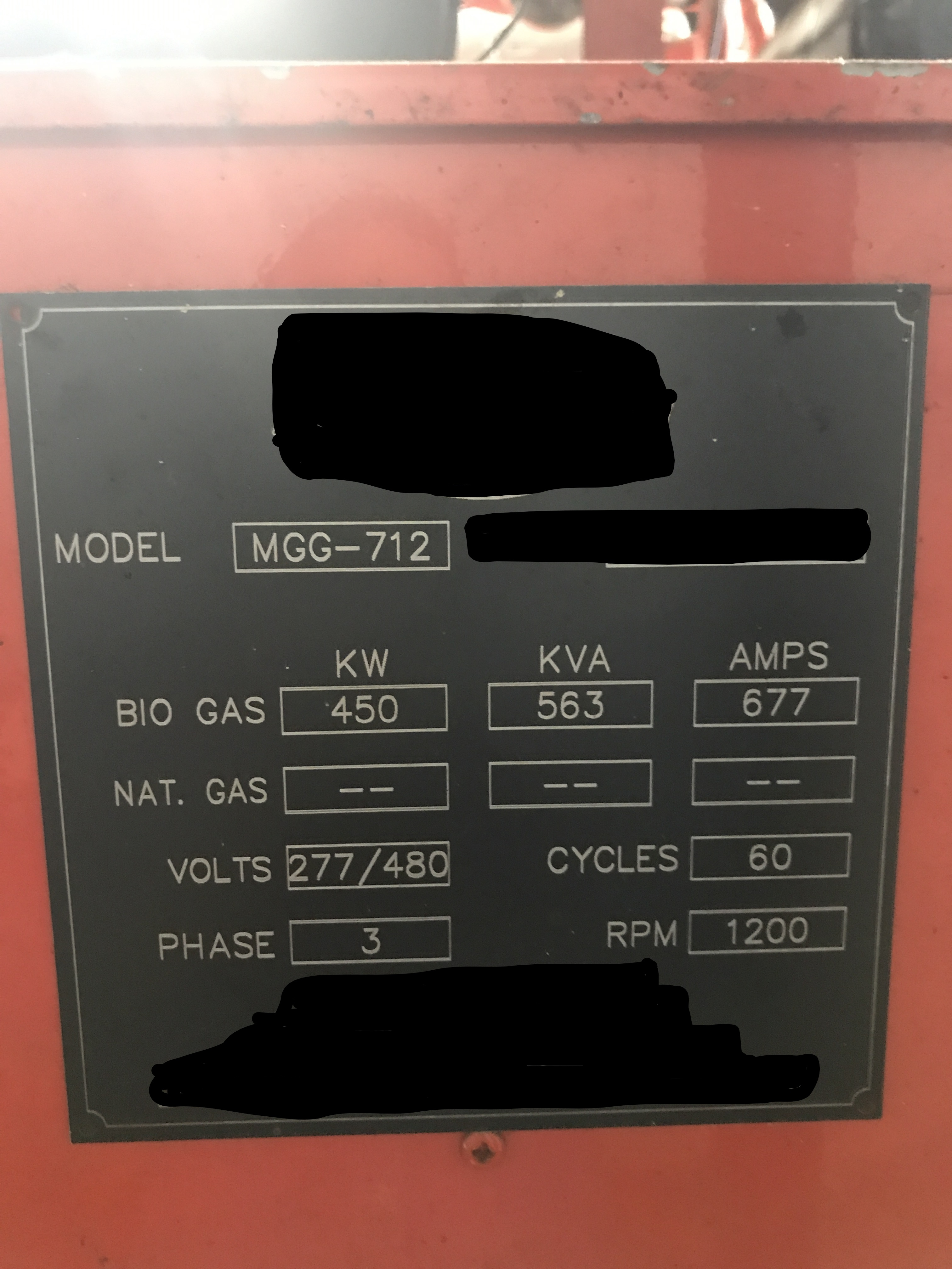 450 KW Guascor Biogas Generator
