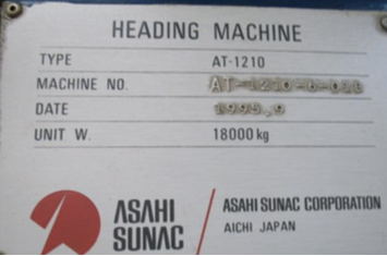 One Used Asahi Sunac Model AT-1210 Two Die Two Blow High Speed Progressive Header