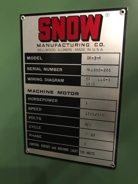 Snow Model DR-3-R Single Spindle Vertical Nut Tapper