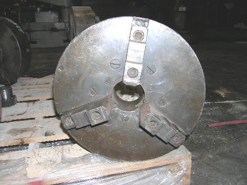 "USED, 15"" 3-JAW CHUCK, 3-1/4"" THRU-HOLE, D-8 MOUNT, 2 PIECE JAWS"