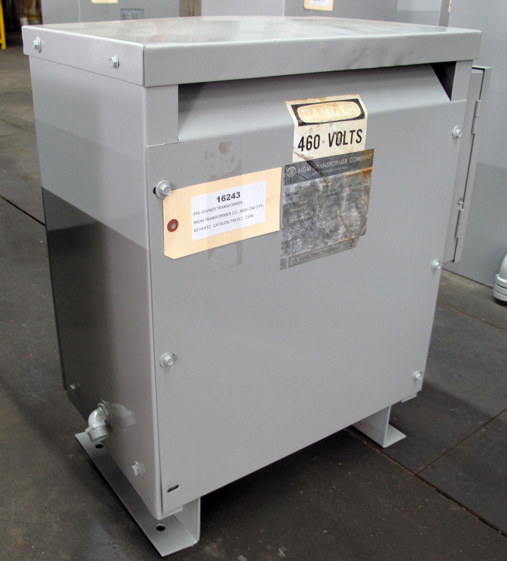 PRE-OWNED, TRANSFORMER, MGM TRANSFORMER CO., 480V-240 / 3 PH / 60 HERTZ;  480 V PRIMARY, 240V SECONDARY.