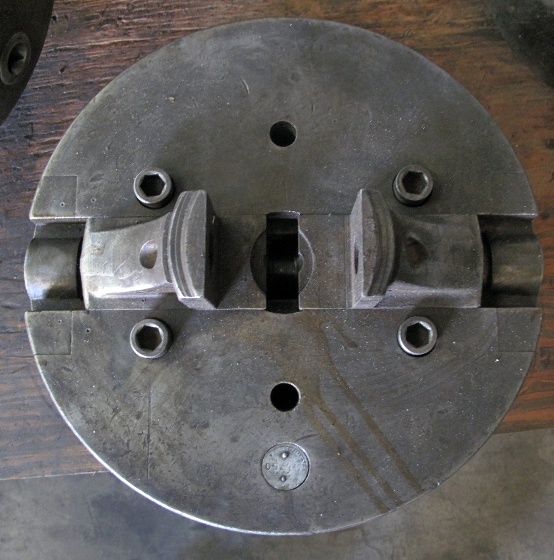 """USED, 12"""" 2-JAW CHUCK WITH ADAPTER, FLAT BACK, 6 BOLT BACK"""
