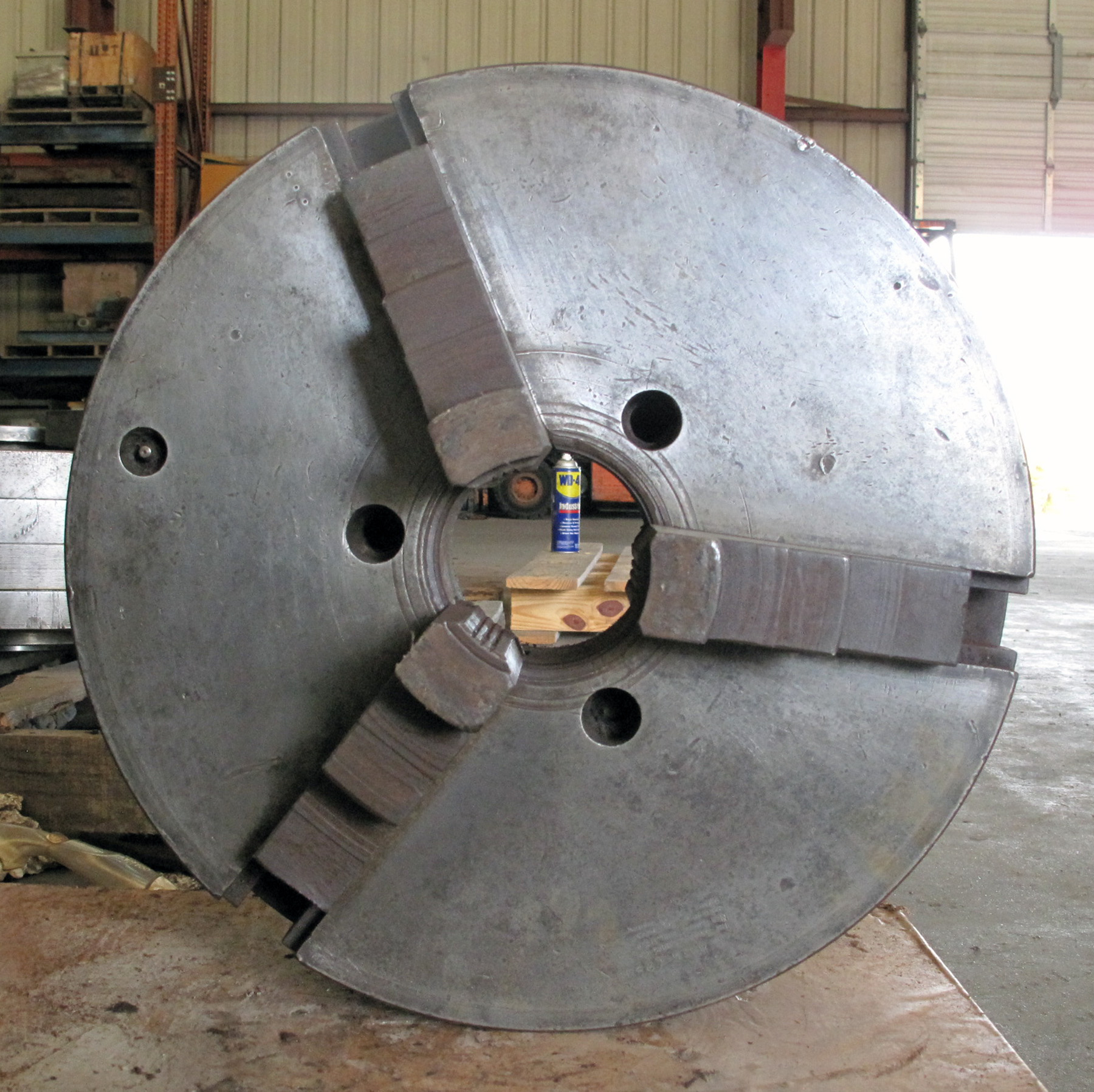 "USED, 15"" 3-JAW CHUCK, 3"" THRU-HOLE, L-2 MOUNT, 1 PIECE JAWS"