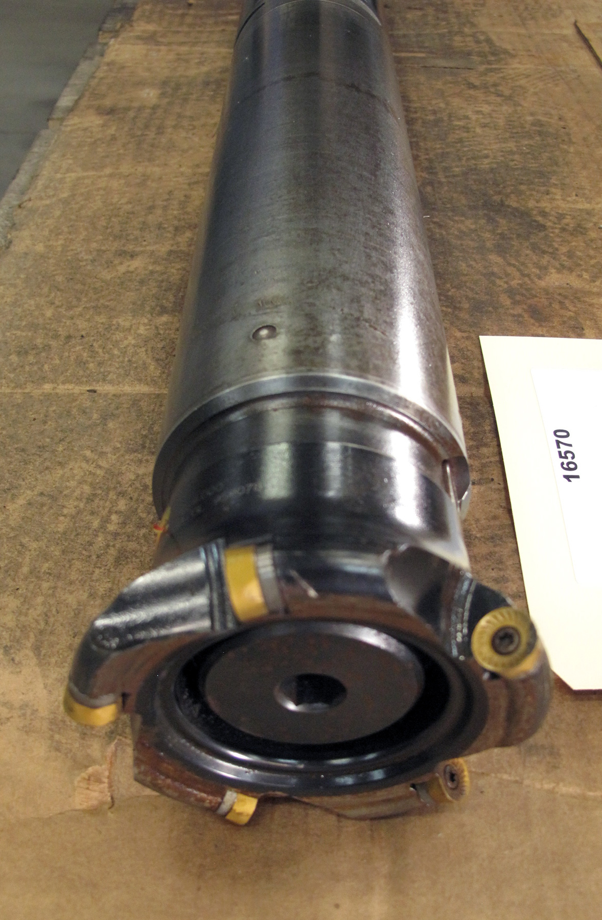 """USED, 3-1/2"""" X 20"""" EXTENDABLE FACE MILL HOLDER WITH 4"""" FACE MILL, CAT 50"""