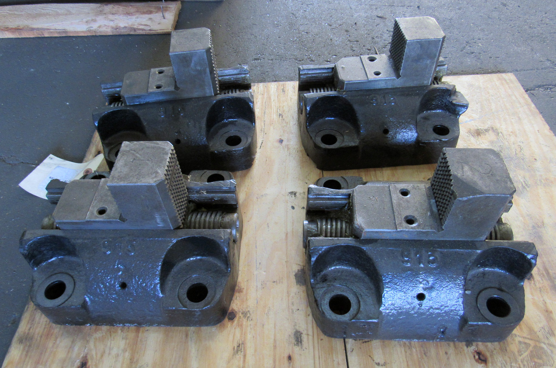 """USED, SET OF FOUR FACE PLATE JAWS, 10"""" ON 7"""" CENTERS"""