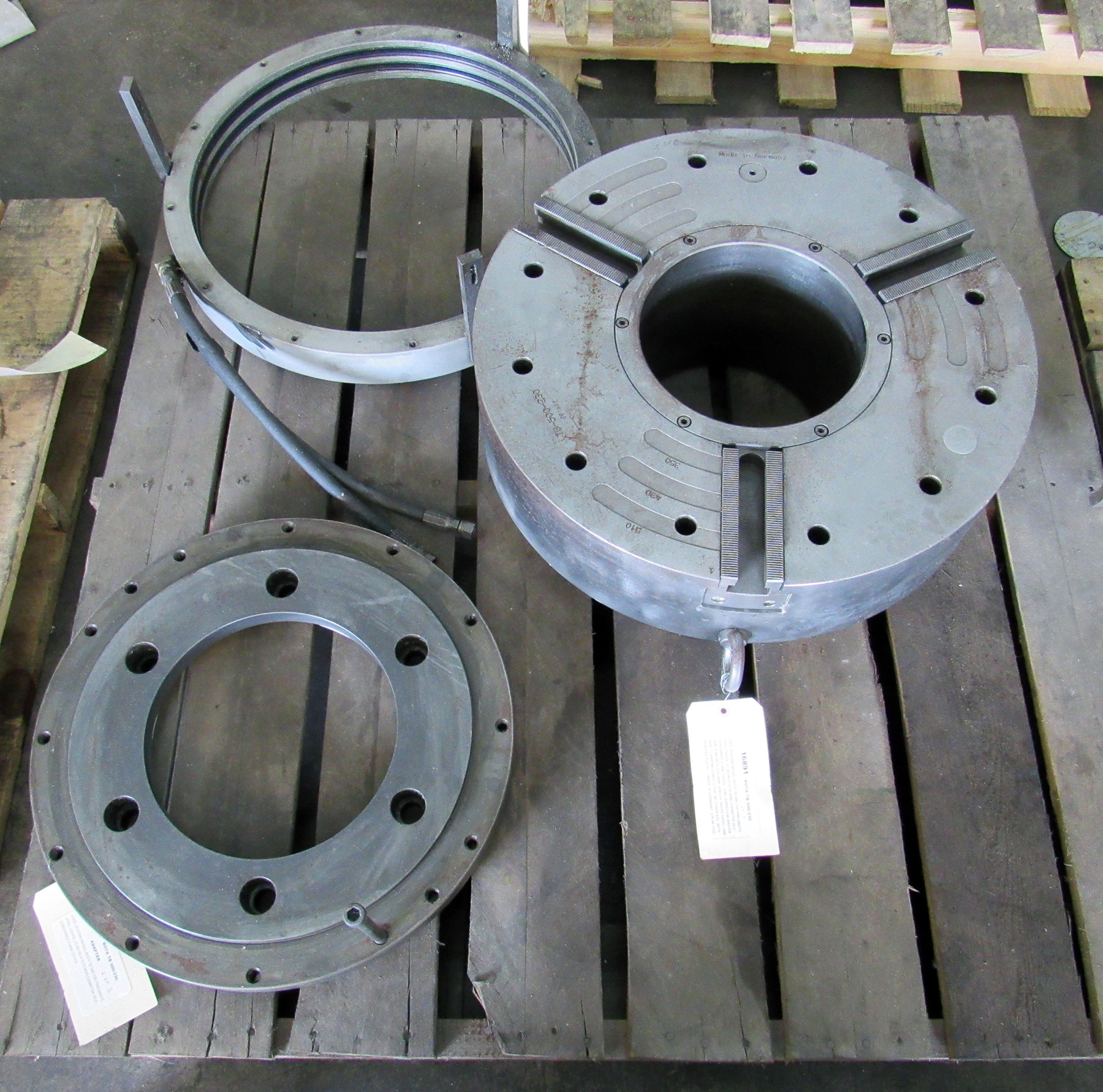 "USED, 22"" SCHUNK MODEL ROTA TB 500-230 PNEUMATIC STEEL CHUCK, WITH ADAPTER PLATES"
