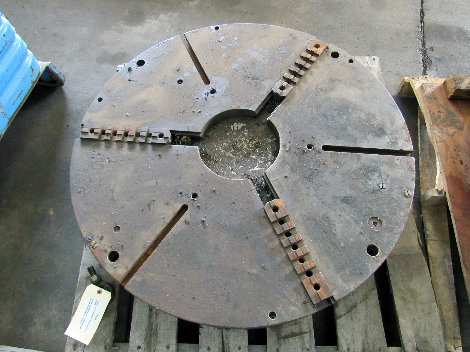 "USED, 41"" 3-JAW CHUCK WITH ADAPTER PLATE, 5"" CHUCK THICKNESS, 3 TONGUE AND GROOVE MASTER JAWS, 