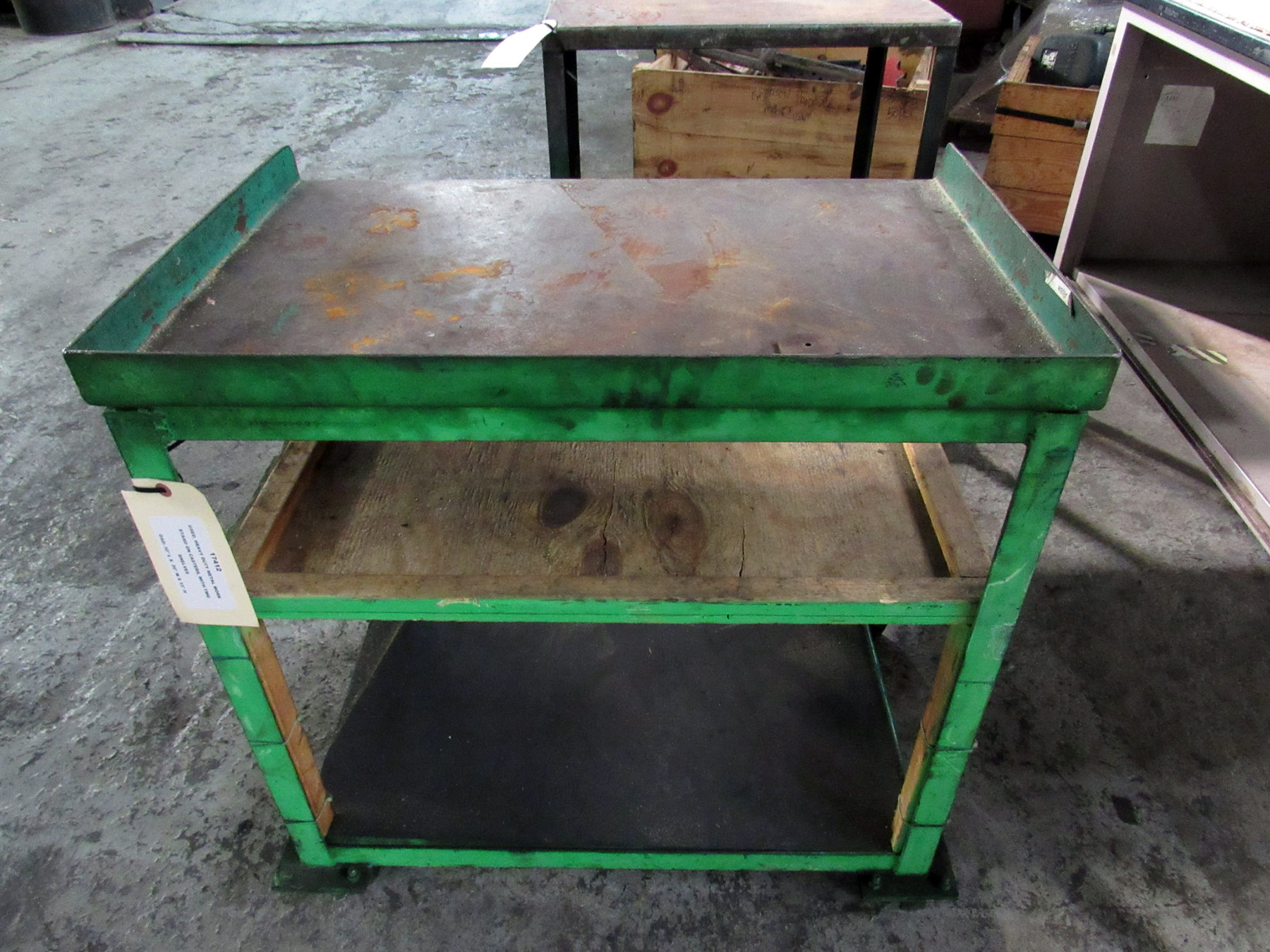 USED, HEAVY DUTY METAL WORK STAND ON CASTERS