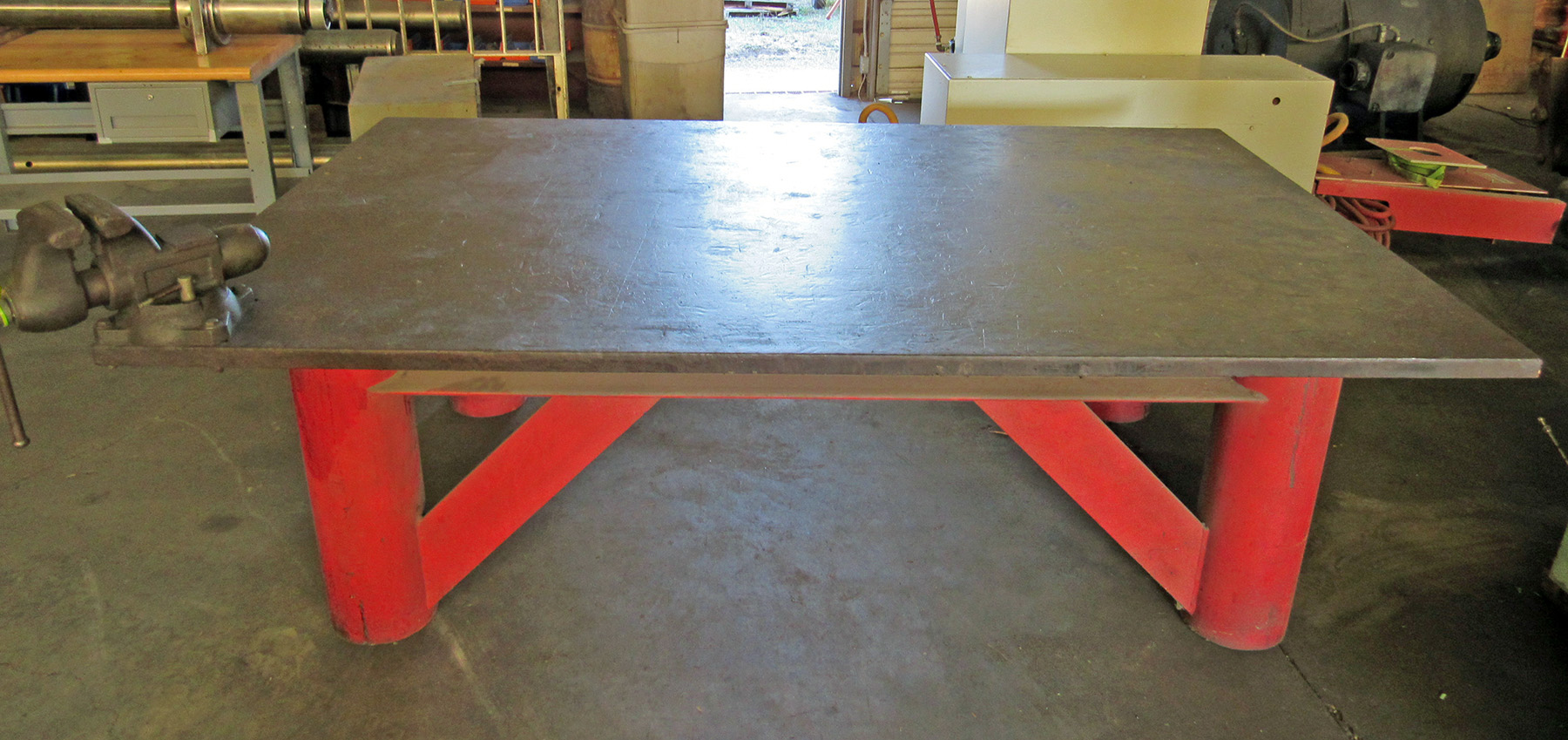 "USED, 96"" X 60"" X 30"" HIGH HEAVY DUTY STEEL TABLE WITH VISE"