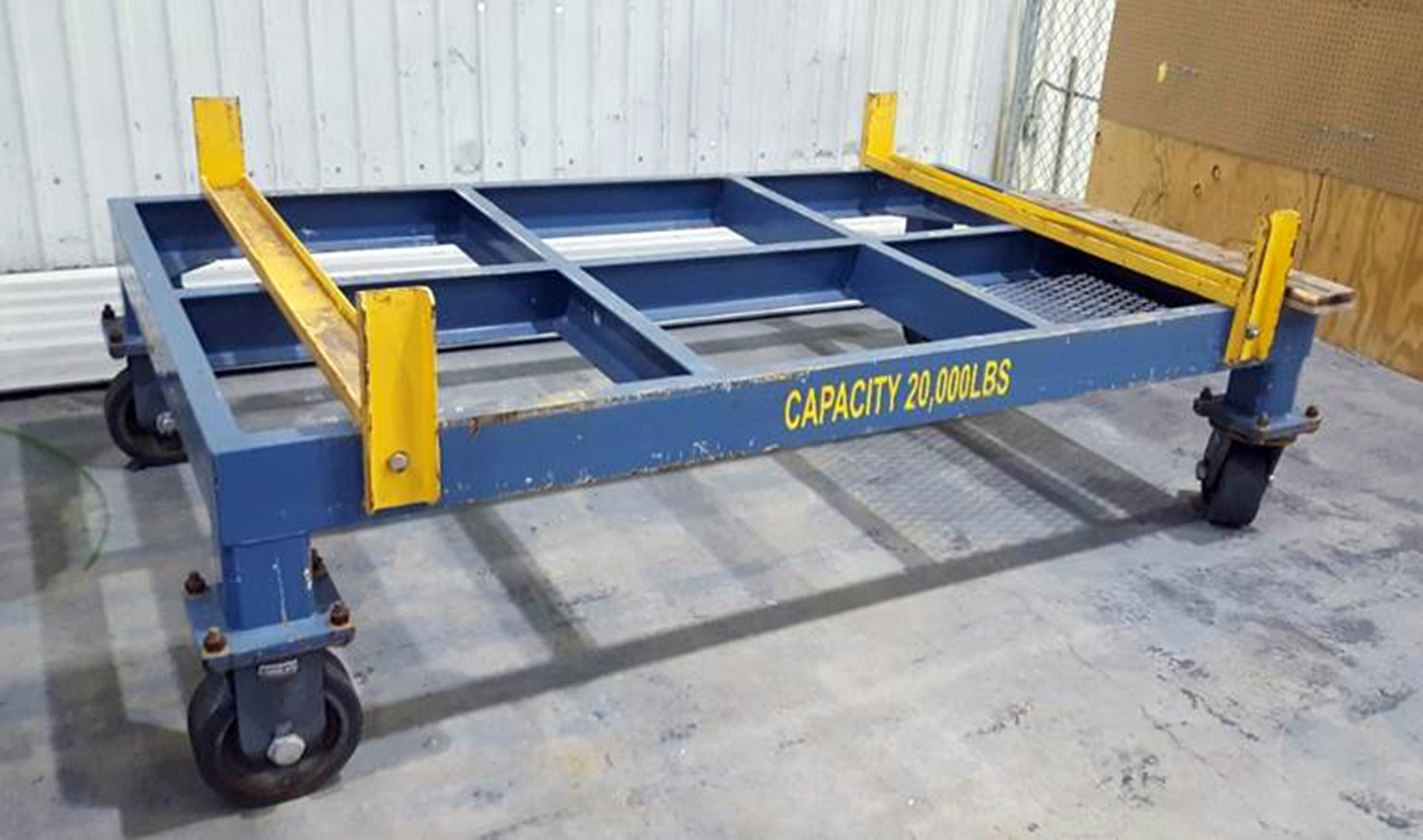 USED, 20,000 LB. CAPACITY CUSTOM STEEL FRAME TRANSFER CART ON CASTERS