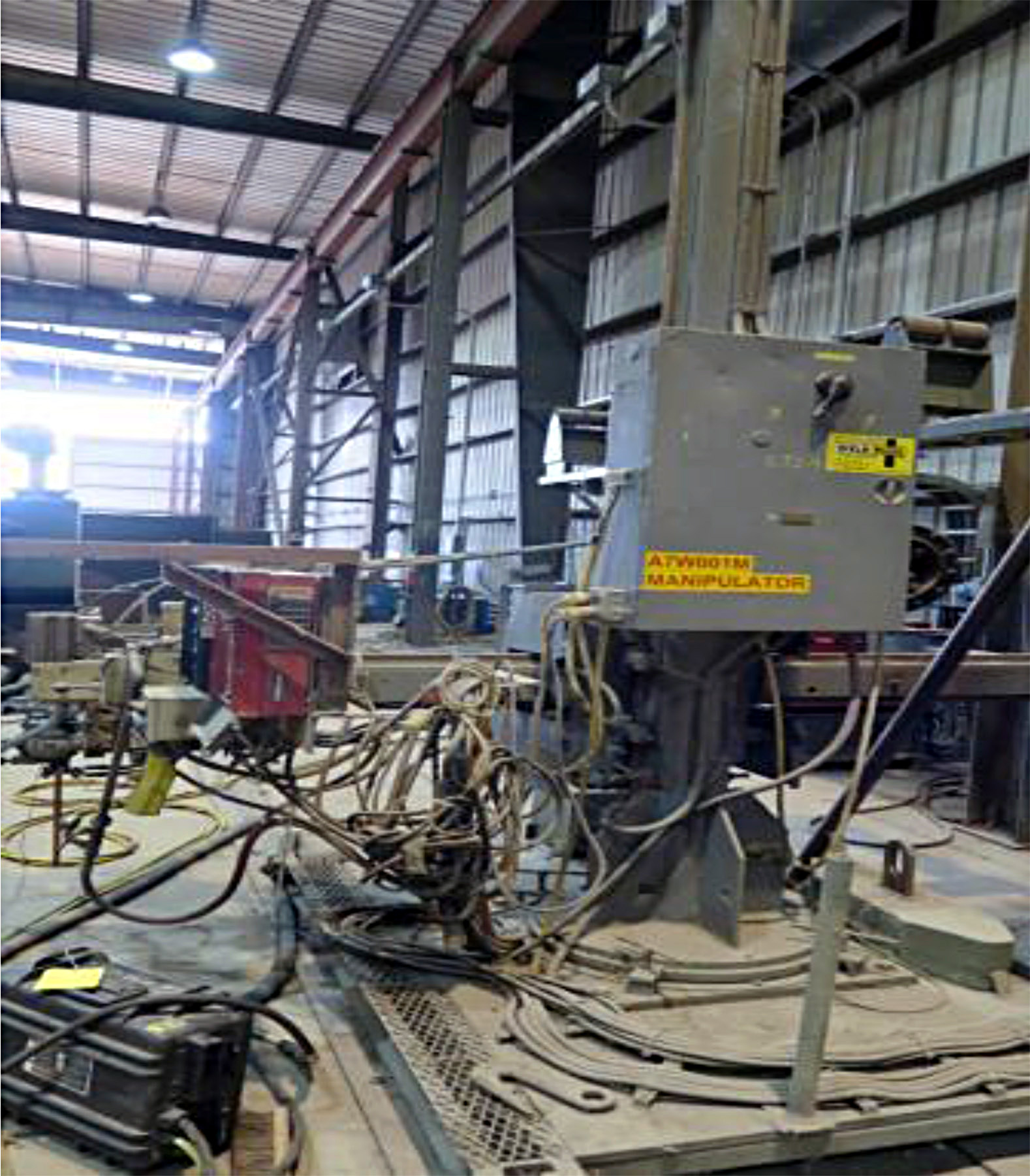 USED, RANSOME MODEL 8X8 WELDING MANIPULATOR ON POWER CART WITH TANDEM ARC SET WELDING SYSTEM